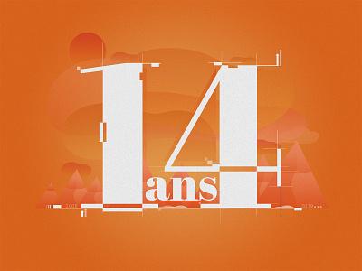 14 ans flat icon logotype vector branding typography illustration design creative