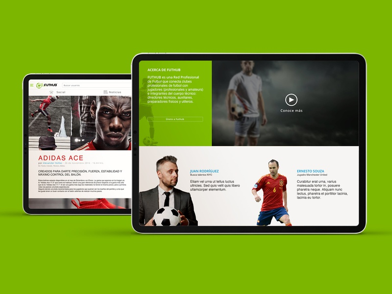 Futhub Social network adidas soccer futbol ux ui design