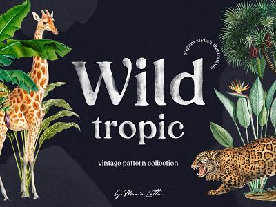 Wild tropic vintage pattern collection vintage branding illustration design graphic design seamless surface design pattern marialetta