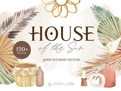 House of the Sun - new boho creator creator boho branding summer graphic design seamless watercolor surface design pattern illustration marialetta