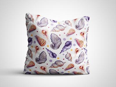 Seashells marialetta pillow vacation beach surface design watercolor summer mockup seashell sea seamless pattern