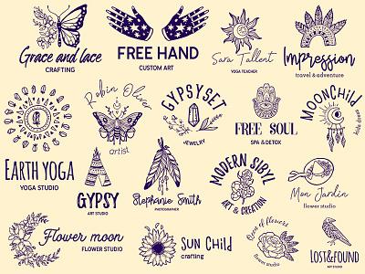 Boho branding marialetta bohemian boho graphic design branding design logo kit logo