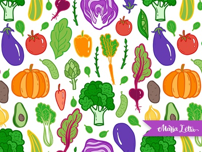 Vegetable story marialetta decoration wrapping harvest spring vegetables vector vegan surface design seamless pattern