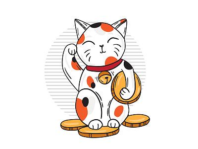 Lucky maneki neko marialetta japan vector illustration cat neko maneki