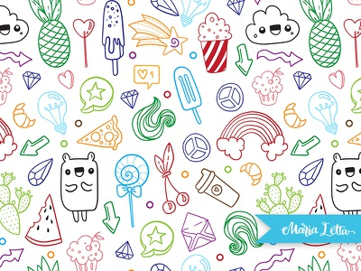 Boom! marialetta kids decoration wrapping colorful vector doodle surface design seamless pattern