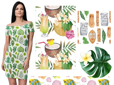 Hawaiian summer maria letta graphic design seamless vacation summer watercolor pattern hawaii