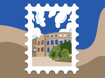 Pula arena, Croatia maria letta illustration vacation travel summer arena pula croatia stamp