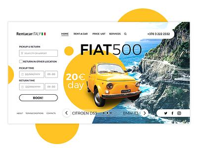 Rent a car Italy car rent web design web design ui marialetta