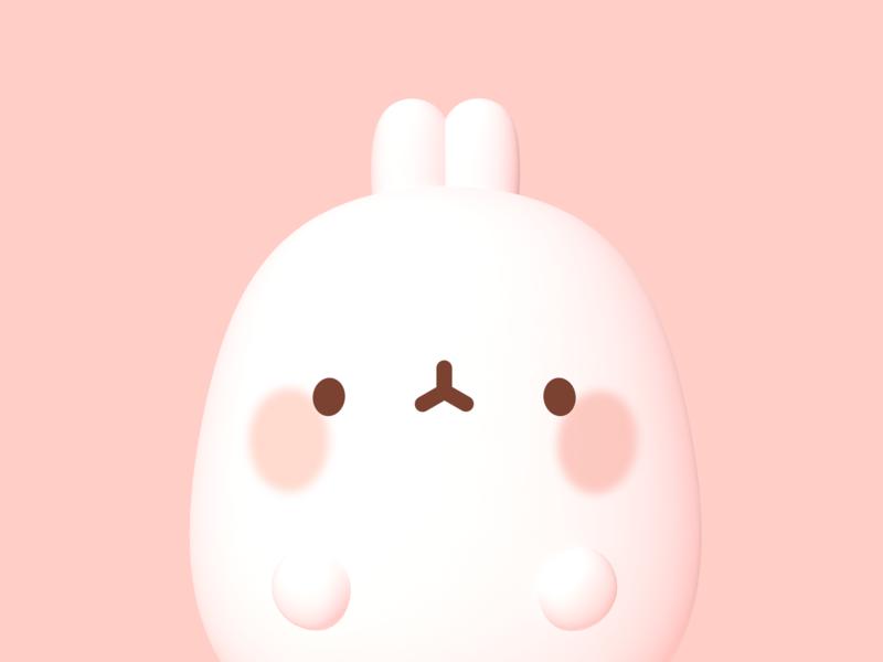 Cuuute pastel rabbit cute c4d photoshop 3d