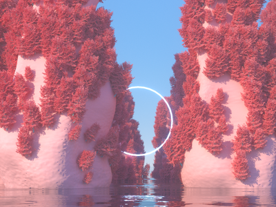 190810 - Voyage circle water mountains trees photoshop cinema 4d c4d alien dailyrender abstract 3d