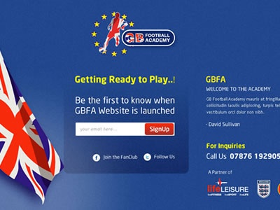 GBFA web design landing page football email signup