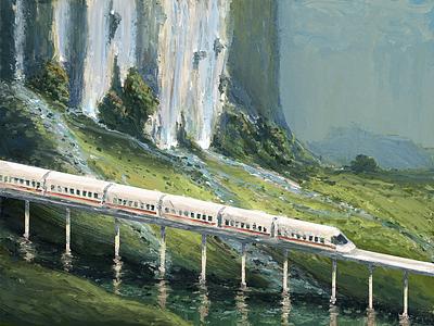 Shinkansen and waterfall painting oil nature landscape texture stream river road way waterfall illustration train shinkansen