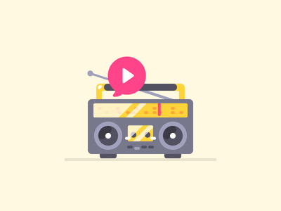 Boombox illustration flat music play audio icon tape radio boombox