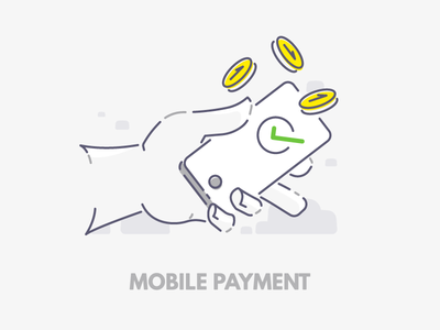 Mobile payment holding hand phone coin payment mobile