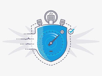 Shield + Stopwatch start easy quick time security defence fast stopwatch shield vector illustration outline line flat icon