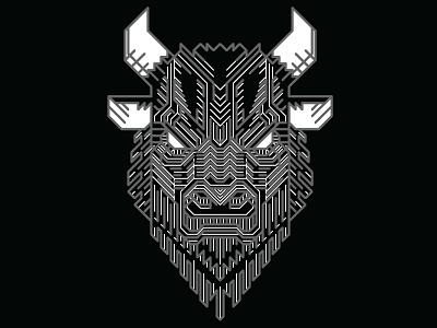 Mighty Buffalo white black lineart cottonbureau tshirt buffalo
