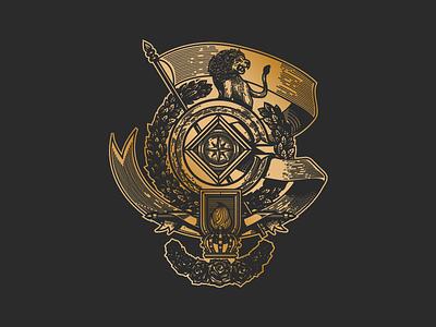 Shield monterrey mexico crown compass ribbon laurel lion black gold gradient logo shield