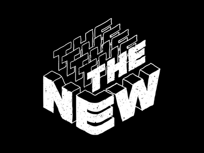 The New new typography isometric logo black  white lettering type