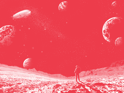 Red Space zeppelin red background comic galaxy planet stars space illustration illustrator astronaut