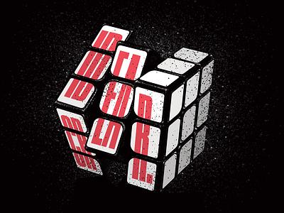 Ideate_Create illustration grunge rubiks cube black white black blackandwhite red typography type lettering rubik create idea