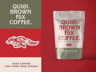 Quick Brown Fox Coffee. Fake Brand. Weekly Warm Up logotype animal espresso quick brown fox fox type typogaphy package logo branding coffee packaging