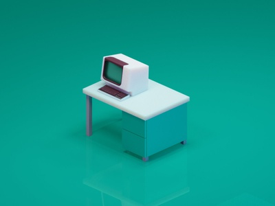 VT100 blender3d game art illustration