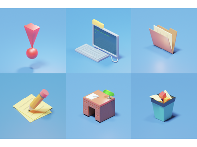 More BeOS icons design ui blender3d illustration