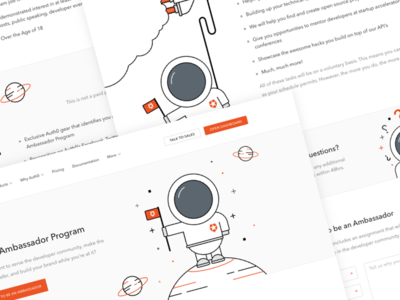 Auth0 Ambassador Program page landing web astronaut illustration security developer program auth0
