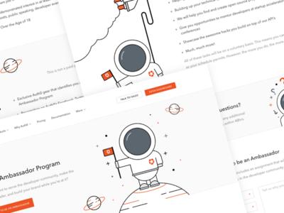Auth0 Ambassador Program page landing web astronaut illustration security developer program auth0