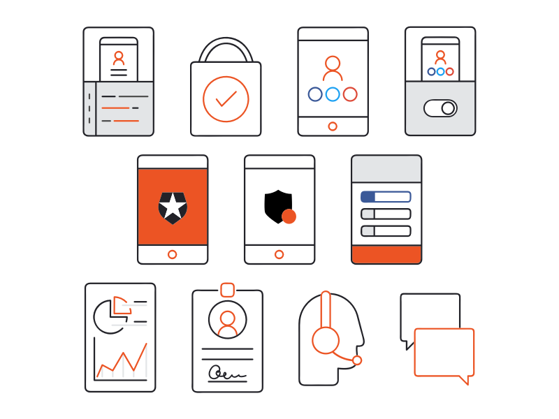 Email Icons mobile website ux ui sketch authentication security passwordless illustration icons email auth0