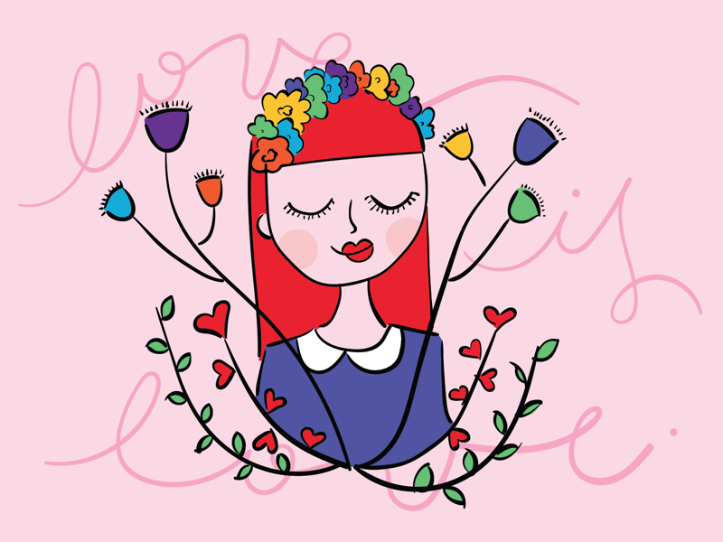 Love is love freedom equality girl flowers vector illustration rainbow lgbtq lgbt love month pride