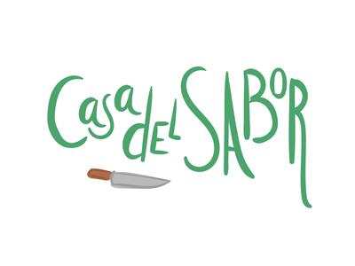Casa del Sabor healthy green lettering handmade typography icon logo food