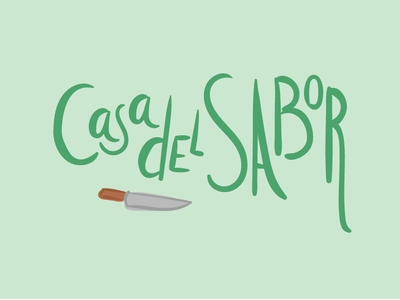 Casa del Sabor healthy green lettering handmade typography icon logo food