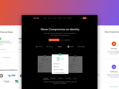 Auth0 Homepage authentication identity security auth0 ux flat sketch homepage argentina ui website responsive web design