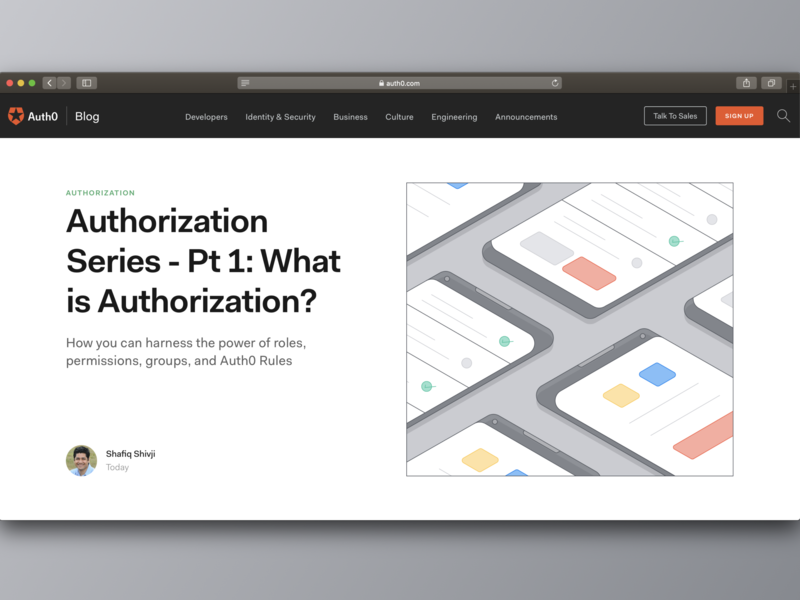Authorization - Auth0 Blog vector flat design illustration security authentication authorization blog auth0
