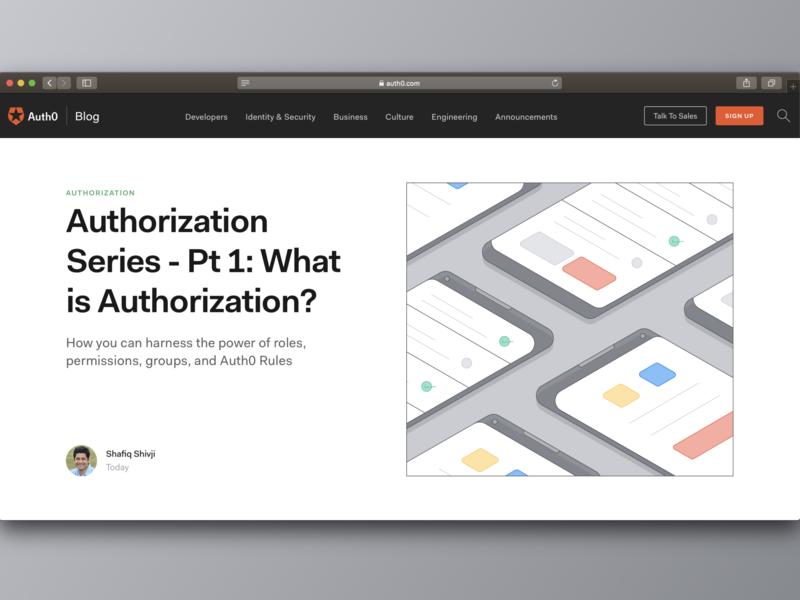 Authorization - Auth0 Blog vector flat design illustration security authentication authorization blog auth0