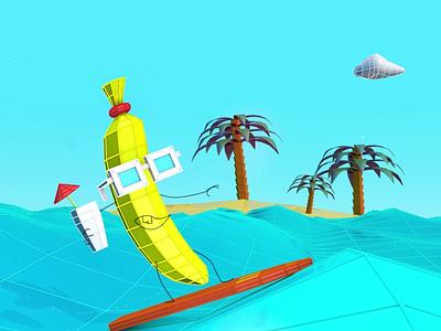 Retro wave Summertime sea surfing summer banana retro wave retrowave lowpoly cinema4d aftereffects c4d cinema 4d 3dart design illustration animation motion graphics 3d