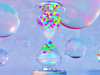 Time Machine balloons glass caustic poster motionposter redshift sandwatch surrealart surreal ui cinema 4d aftereffects cinema4d 3dart illustration design animation motion graphics 3d
