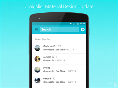 Material Design Update 1.0 ux ui user experience android craigslist