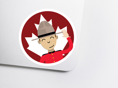Just Saying Hello mountie canada sticker illustration design material
