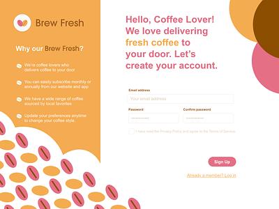 Brew Fresh UI design: Sign up page 1 ux design 001 dailyui 001 dailyui graphic design website illustrator app web branding design logo ui illustration