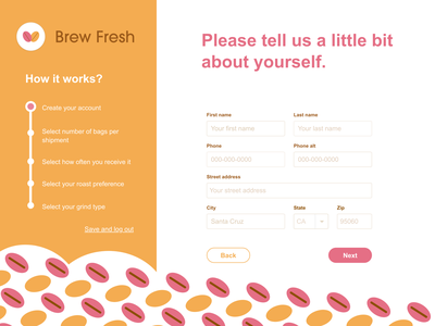 Brew Fresh UI Design: Sign up page 2 logo web ui ux design graphic design branding 001 dailyui 001 dailyui