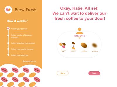 Brew Fresh UI Design: Sign up page 3 website web app ui ux graphic design dailyui 001 dailyui branding