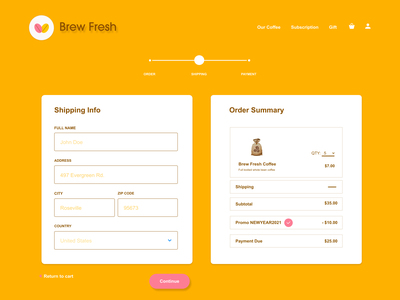Brew Fresh UI Design: Check Out Page 01 dailyuichallenge design ui website graphic design ux web app dailyui 003 dailyui branding