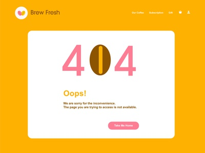 Brew Fresh UI Design: Design a 404 page dailyuichallenge graphic design icon daily 008 dailyuiux ux website illustration web dailyui branding