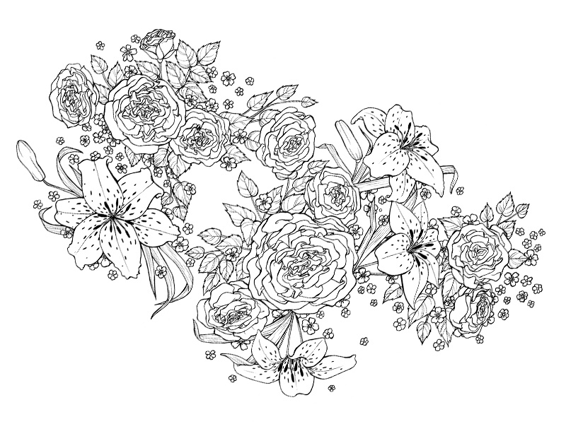 Floral Half Sleeve 2d art black and white tattoo illustration tattoo design forget-me-not lily rose floral flowers design illustration tattoo
