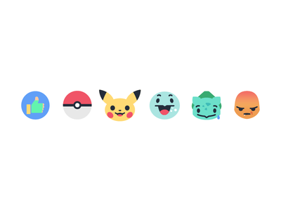 Poké Reactions like button ux ui pokeball facebook reaction pikachu pokemon go