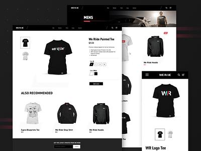 WeRiide Clothing website speed ride racing race logo imports identity homepage ecommerce brand