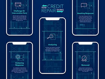 Credit Repair people ux ui repair mobile illustration credit app construction