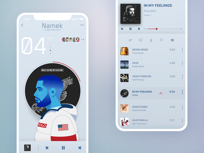 04 Drizzy apps ux ui rapper playlist people music player music drake illustration hip hop